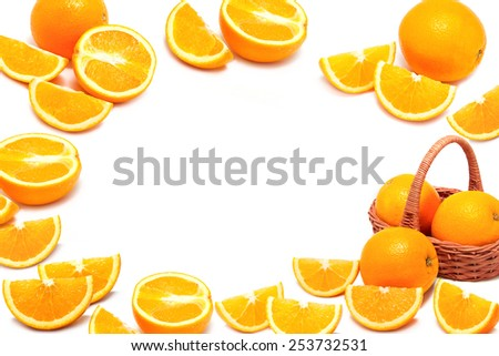 Orange fruit with slice ,fruit background - stock photo