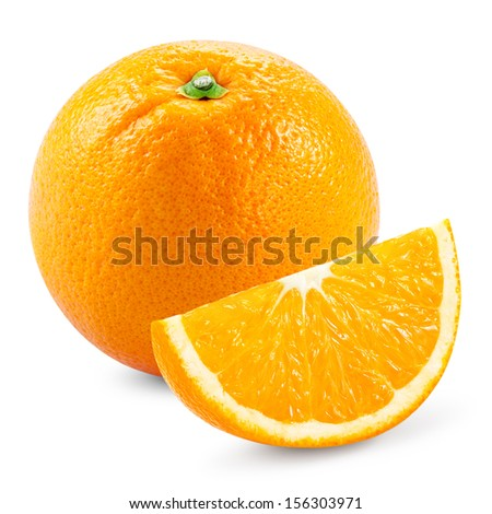 Orange fruit with slice isolated on white background - stock photo
