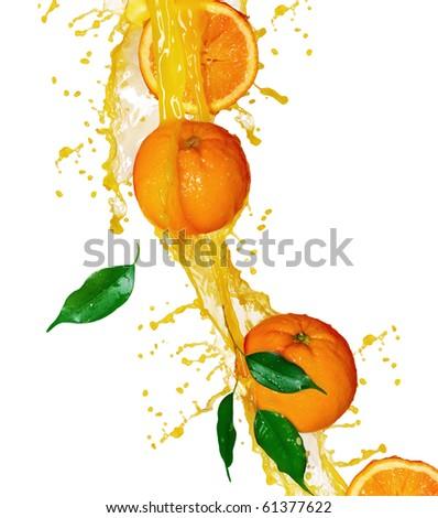 Orange fruits and Splashing Juice over white - stock photo