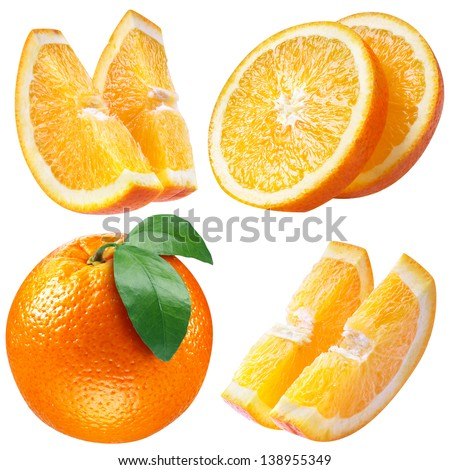 orange fruits with leaf and slices on white. collection with clipping path - stock photo