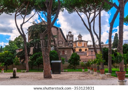 Orange Garden (Parco Savello Giardino degli Aranci) on the Aventine Hill in Rome. Italy - stock photo