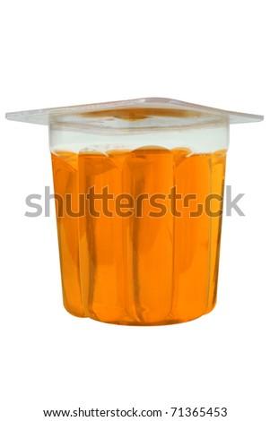 orange gelatin glass on a white background - stock photo