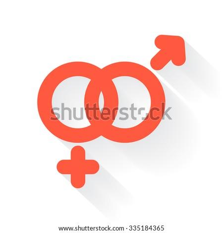 Orange Gender symbol with drop shadow on white background - stock photo