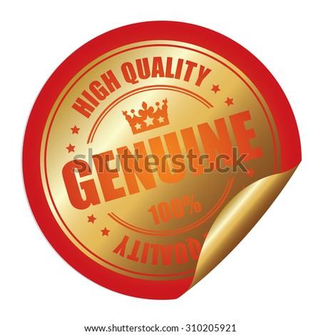 Orange Genuine 100% High Quality Infographics Peeling Sticker, Label, Icon, Sign or Badge Isolated on White Background  - stock photo