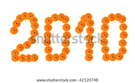Orange gerbera flowers on white background building number 2010 - stock photo