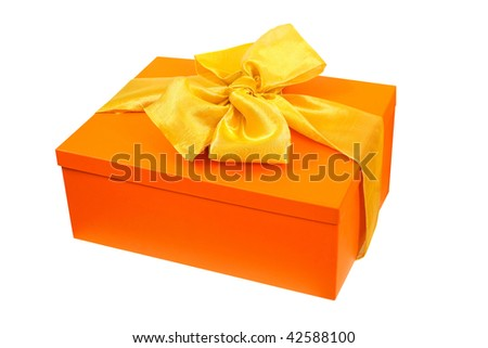 Orange gift angle isolated included clipping path - stock photo