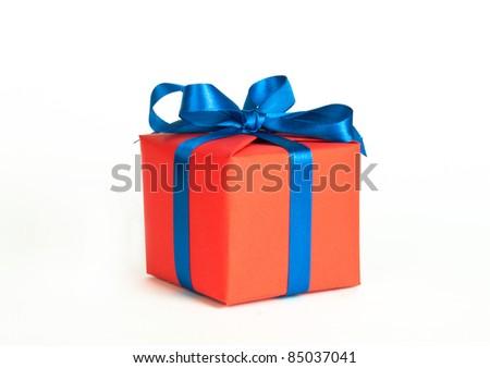 orange gift box - stock photo