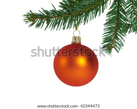 Orange glass ball hung on the Christmas tree. On the white background. - stock photo