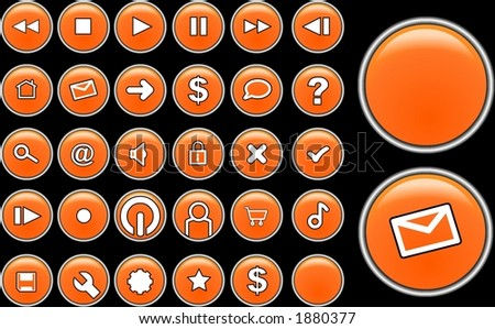 Orange glass buttons