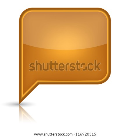 Orange glossy empty speech bubble web button icon. Rounded rectangle shape with black shadow and reflection on white background. (Raster version) - stock photo