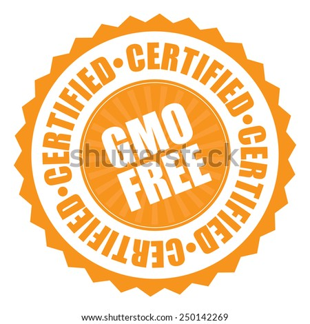 orange gmo free certified icon, tag, label, badge, sign, sticker isolated on white
