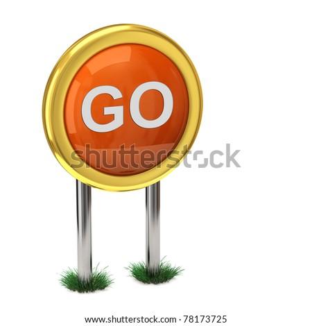 Orange GO icon - stock photo