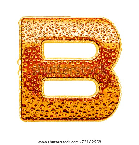 Orange gold alphabet symbol - letter B. Water splashes and drops on glossy metal. Isolated on white - stock photo