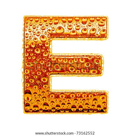 Orange gold alphabet symbol - letter E. Water splashes and drops on glossy metal. Isolated on white - stock photo