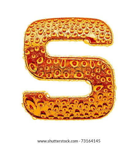Orange gold alphabet symbol - letter S. Water splashes and drops on glossy metal. Isolated on white - stock photo