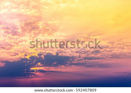 Orange gold light with colorful sky