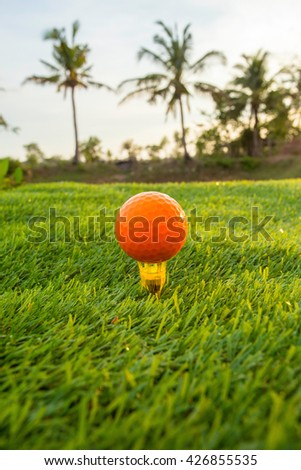 Orange golf ball on the green on a sunny day. - stock photo