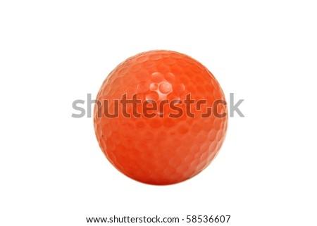 Orange golfball isolated on white - stock photo