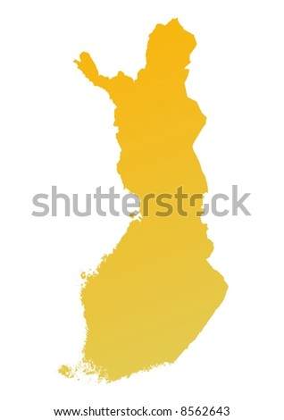 Orange gradient Finland map. Detailed, Mercator projection.