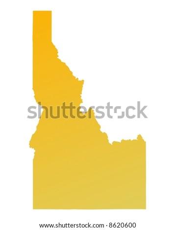 Orange gradient Idaho map, USA. Detailed, Mercator projection. - stock photo