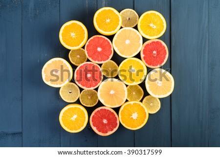 Orange, Grapefruit And Lemon Citrus Fruit Slices - stock photo
