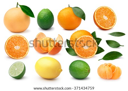 Orange, grapefruit, mandarin,lime,lemon. Set of whole and halved citrus fruits with leaves. Clipping paths, infinite depth of field