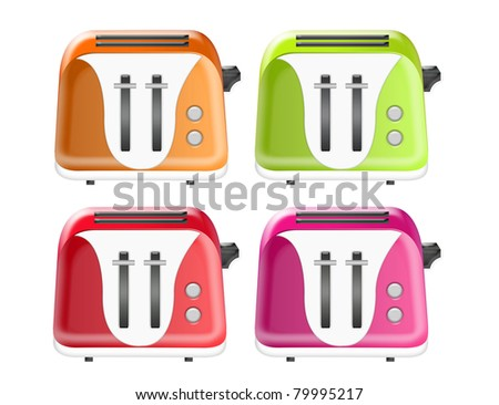 orange, gree, red, pink toasters isolated over white background