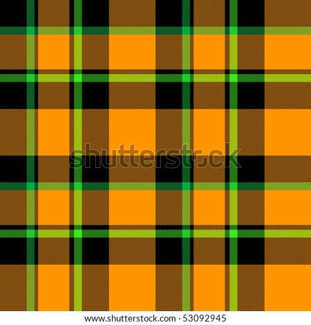 Orange, green, and black tartan plaid fabric suitable for Halloween is seamless tile background pattern. - stock photo