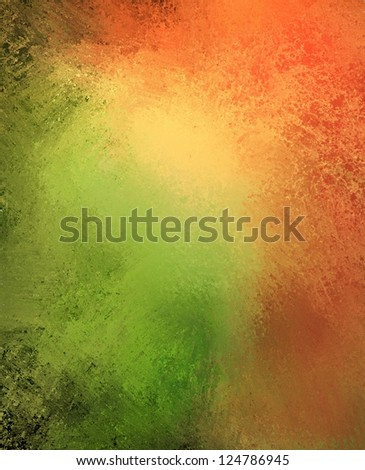 orange green background color splash on grungy rough distressed vintage grunge background texture abstract design, bright middle for text, website template background, old messy retro wall style paint - stock photo