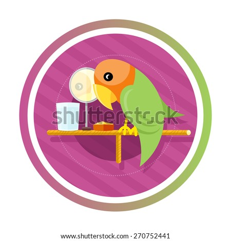 Orange green parrot with a mirror, water and food isolated on white background. Concept in cartoon style. Raster version - stock photo