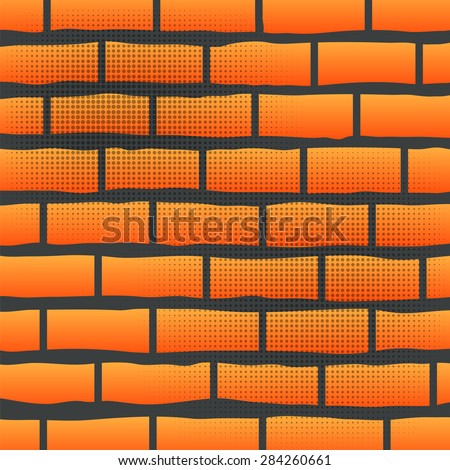Orange Grunge Brick Wall.  Orange Brick Pattern.