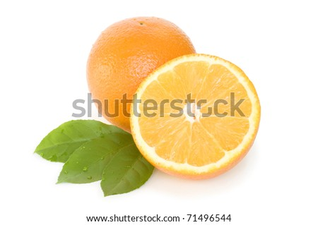 orange half and slice with leaves isolated on white