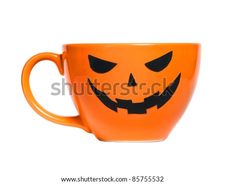 Orange Halloween coffee cup can used for promotion drinks - stock photo