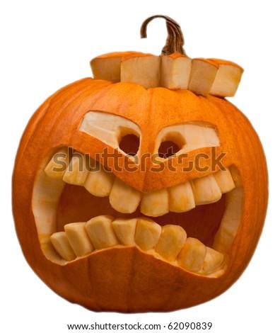 orange halloween pumpkin isolated - stock photo