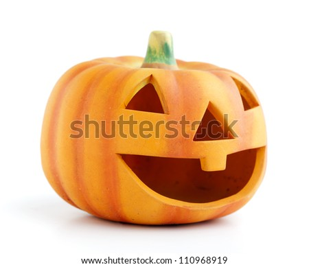 Orange halloween pumpkin isolated on white background - stock photo