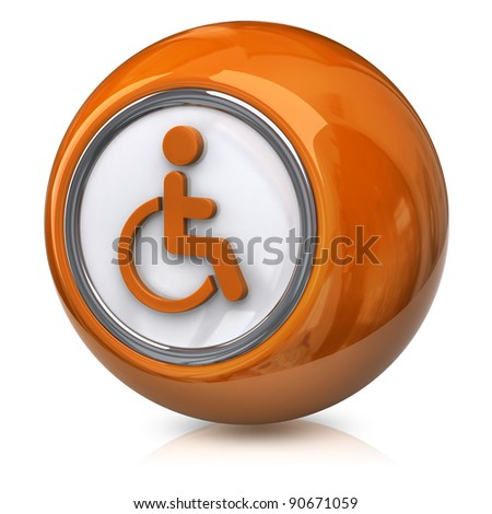 Orange handicap icon - stock photo