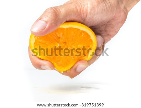 orange, Hands are squeezed orange on a white background