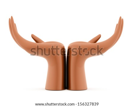 Orange hands concept rendered isolated on white background - stock photo