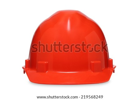 orange hard helmet isolated on a white background.  - stock photo
