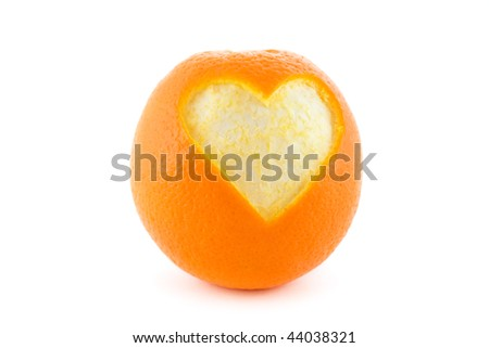 Orange heart isolated on white - stock photo