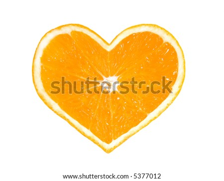 Orange heart isolated on white background .