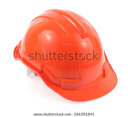 orange helmet isolated on a white background. - stock photo