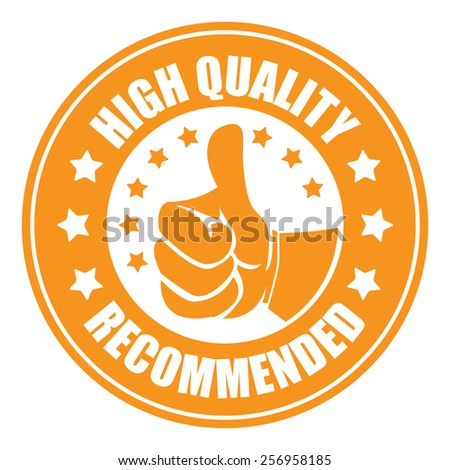 orange high quality recommended sticker, badge, icon, stamp, label, banner, sign isolated on white - stock photo