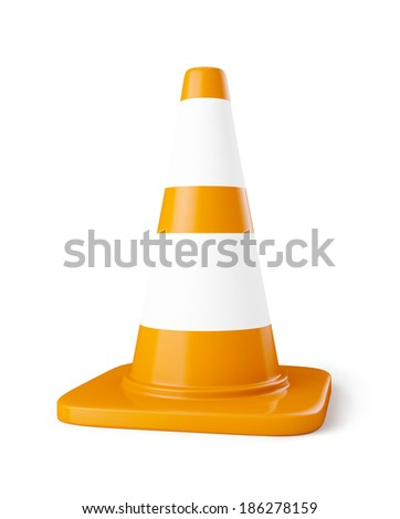Orange highway traffic construction cone with white stripes isolated on white - stock photo
