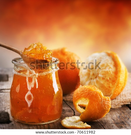 Orange homemade jam - stock photo