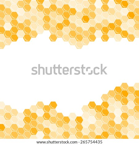 Orange honeycomb background with free space for text. Abstract geometric illustration. Raster version. - stock photo