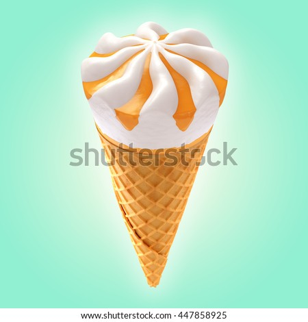 orange ice cream cone on background / 3D illustration