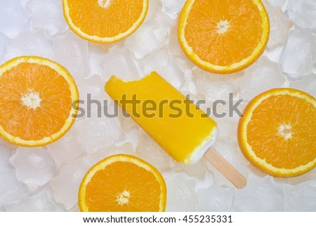 Orange ice cream with orange slices on the pieces of ice.