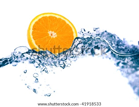 Orange in a water on a white background - stock photo
