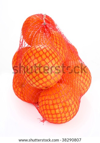 orange  in red net isolated on white background - stock photo